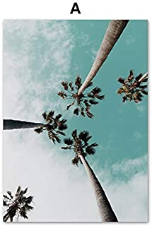 VDT Coconut Palm Tree Pink Beach Sea Umbrella Wall Art Canvas Painting Nordic Posters and Prints Wall Pictures for Living Room Decor