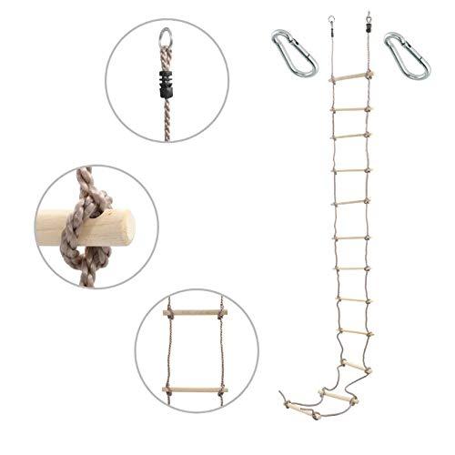 1 Stück h2i Kinder Strickleiter Kletterleiter 440 cm 12 Sprossen mit Karabiner zum Einhängen