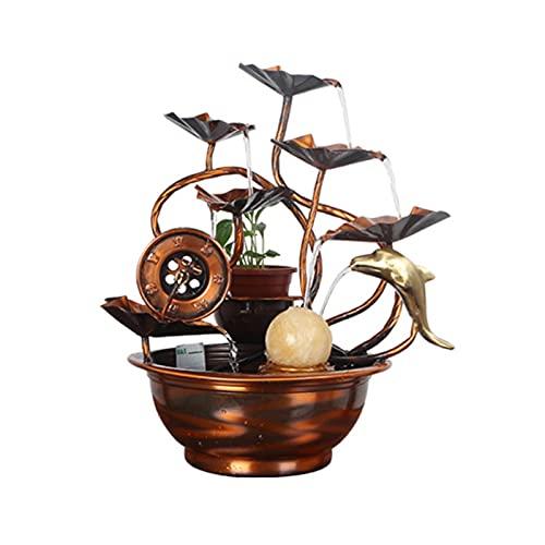 Fuente interior y exterior Cascada de la fuente de agua-5-nivel de la mesa con la bola rodante - Sonidos calmantes - para el dormitorio de la sala de estar de la oficina en el hogar (13.3 pulgadas) Fu