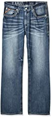 Bootcut jean featuring whiskering at hips and placed fading Five-pocket styling No-rub comfort inseams Anchored belt loops Hand sanding for premium styling Distressed features on Jean