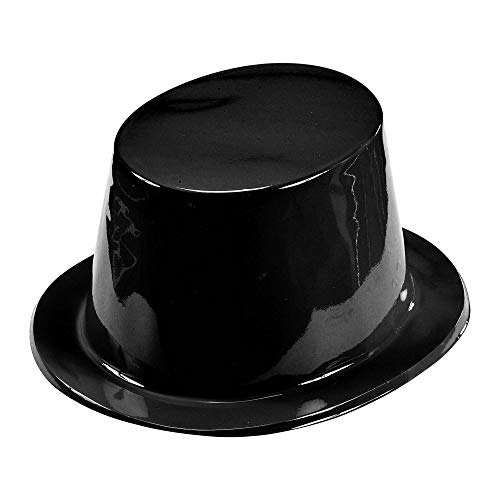 Widmann 1635B - Zylinder, aus Plastik, Schwarz, Kopfbedeckung, Hut, Plastikhut, Kostümzubehör, Karneval