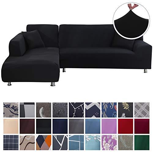 SearchI Fundas Sofa Elasticas Chaise Longue,Extraíbles y Lavables,Moderno Cubre Sofa Chaise Longue Universal Fundas Protectora para Sofa contra Polvo en Forma de L 2 Piezas(Negro,2 Plazas+2 Plazas)