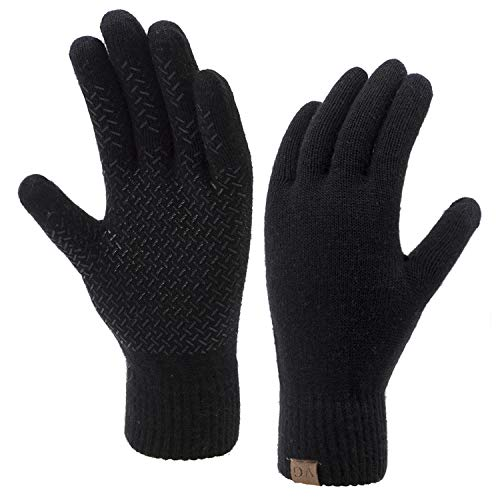 Winter Touchscreen Gloves for Men & Women 3 Fingers Dual-layer Touch Screen Warm Lined Anti-Slip Knit Texting Glove, Black, Medium