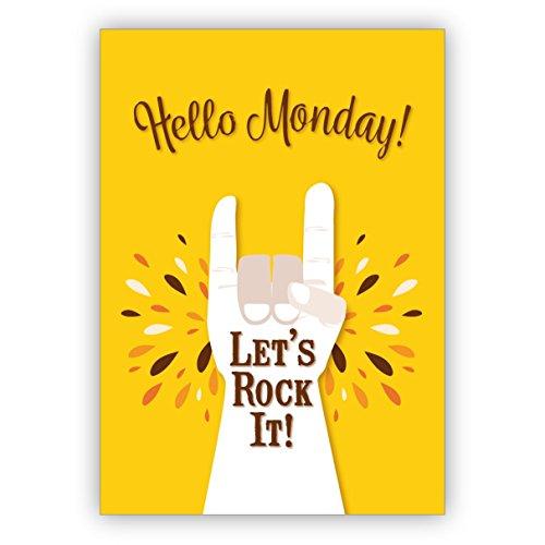 Set di 16: biglietto di auguri soleggiato e tipografico con un motto per i migliori amici: Hello Monday - Let's rock it! - con busta
