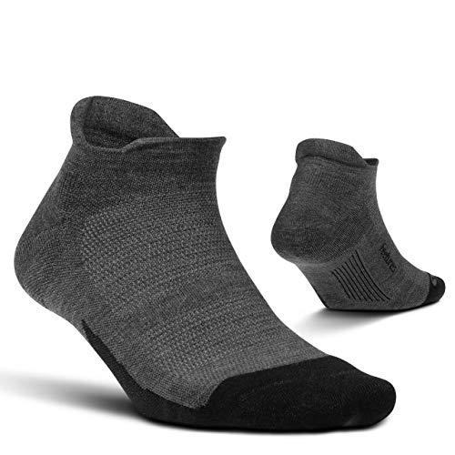Feetures Merino 10 Ultra Light No Show Tab Sock Solid (Large, Gray)