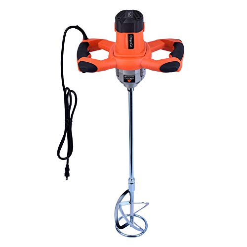 1600W Portable Electric Concrete Cement Plaster Grout Paint Thinset Mortar Paddle Mixer Pro Drill Mixer Stirring Tool Adjustable 6 Speed Handheld Standard 110V (1600W Orange)