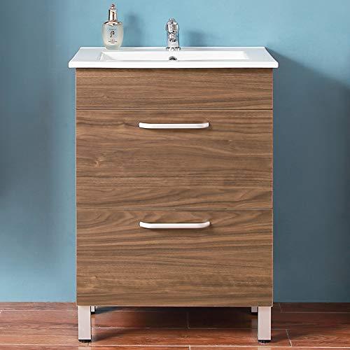 Waschplatz 60 cm breit mit Unterschrank Badezimmermöbel Standschrank Waschtischkeramikbecken mit Unterschrank Walnuss
