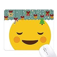 内気な黄色のかわいい素敵なオンラインチャット絵文字イラストパターン ゲーム用スライドゴムのマウスパッドクリスマス