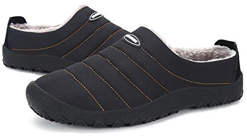 Zapatillas de Estar por Casa Mujer Hombre, Invierno Zapatos de Casa con Forro de Cálido - Cálidas y Cómodas - con Suela Antideslizante para Exterior e Interior,Negro 37