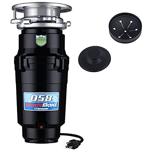 Waste Maid 10-US-WM-058-3B Garbage Disposal Anti-Jam and Corrosion Proof Stainless Steel Food Waste Grinding System, Odor Protection, 1/2 HP Economy, Black
