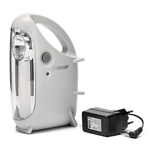 VELAMP Mini OVIDEA Luce 2 in 1: Lampada Portatile Ricaricabile LED e Torcia. 170 Lumen. con Trasformatore. Ideale per Casa, Emergenze, Cucina, Grigio