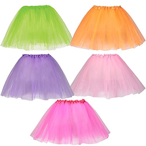 Dress-Up-America Tutu Multipack for Girls - Five Color Pack of Princess Tutu Skirts for Kids - Three-Layered Tulle Ballet Skirts - 15 Inch Dance Tutus