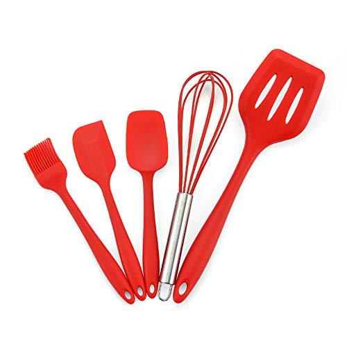 CROWNXZQ 5 Silicone Spátula Conjunto Utensilios de Utensilios de Utensilios de Utensilios de Cocina, batidor de Huevos, para cocinar, Mezclar para Hornear, Resistente al Calor.