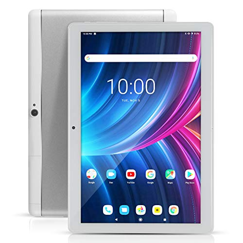 "Tablet Android 10"" con ranuras para tarjeta SIM - 10.1"" 4GB RAM 64GB ROM Octa Core 3G Libre GSM Tablet PC Smartphone con WiFi Bluetooth FM GPS YouTube Netflix (plata)"