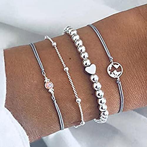 Branets Boho Pulseras de ópalo en capas Pulsera de mapa de plata Cadena de mano con cuentas Accesorios de joyería para mujeres y niñas (4 piezas)