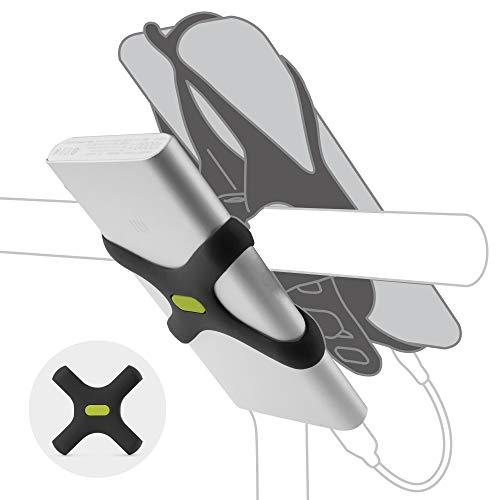 Bone Universale Elastische Halterung für Powerbank 13cm - 18cm, Innovatives Design X-Struktur für Akkupack, Kompatibel Fahrradhalterung - Schwarz