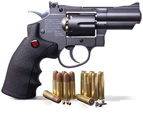 Crosman SNR357 0.177 Pellet/4.5 MM BB CO2-Powered Revolver Black/Grey 2.5″ Snub Nose