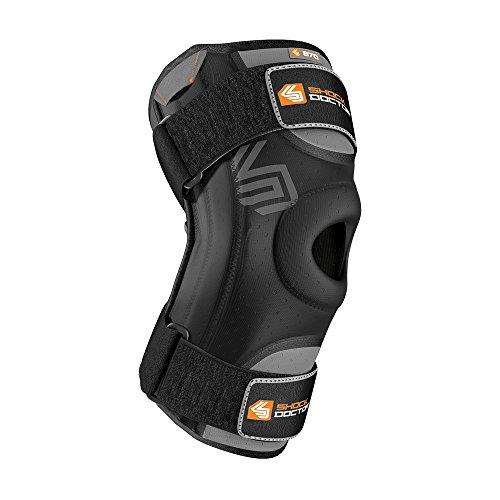 ShockDoctor Erwachsene Knieschützer Stützen Kniestütze mit Flexiblen Stabilisatoren Bandage, Black, XL