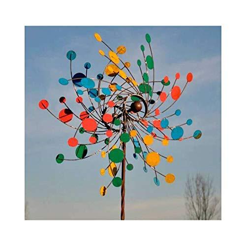 L'Héritier Du Temps Majestueuse Eolienne Double Hélices Tuteur Mobile de Jardin en Acier Coloré 25x86x230cm
