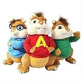 N\A Alvin Y Las Ardillas Alvin Mouse Soft Peluches 25cm 3 Piezas