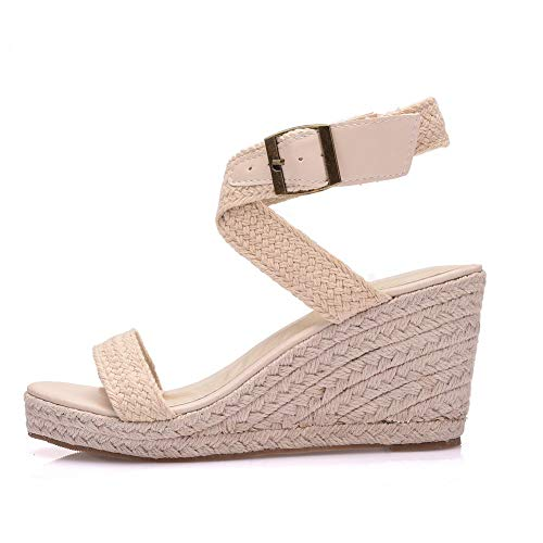 Bohemia Wedges Sandals Platform Sandals for Women High Heels Sandals Wedges Shoes (37, Ivory)
