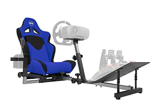 OpenWheeler GEN3 Racing Wheel Stand Cockpit Blue on Black | Fits All Logitech G923 | G29 | G920 | Thrustmaster | Fanatec Wheels | Compatible with Xbox One, PS4, PC Platforms