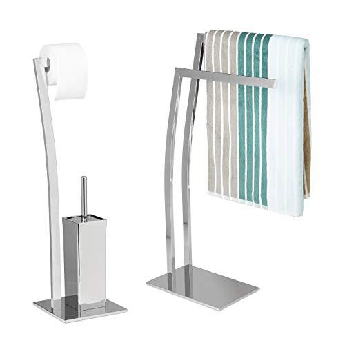 Relaxdays 2 TLG Bad Set WIMEDO, Handtuchhalter freistehend, WC Garnitur ohne Bohren, Toilettenpapierhalter Silber, Toilettenbürste