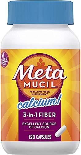 Metamucil with Calcium, Psyllium Husk Fiber Supplement, 3-in-1 Fiber for Digestive Health & Bone Health, Plant Based, 120 Capsules