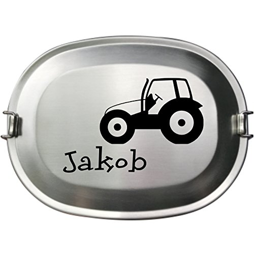 *– Die Vesperdose Frühstücksbox Brotdose aus Edelstahl – Gravur des Namens neben einem Traktor*