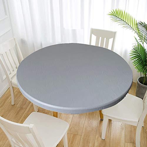 Cozomiz Elastische Tischdecke Gartentischdecke Rundtischdecke wasserdichte rutschfeste Abwischbar Schmutzabweisend Tischdecke Grau 80cm Runde Enge Passform