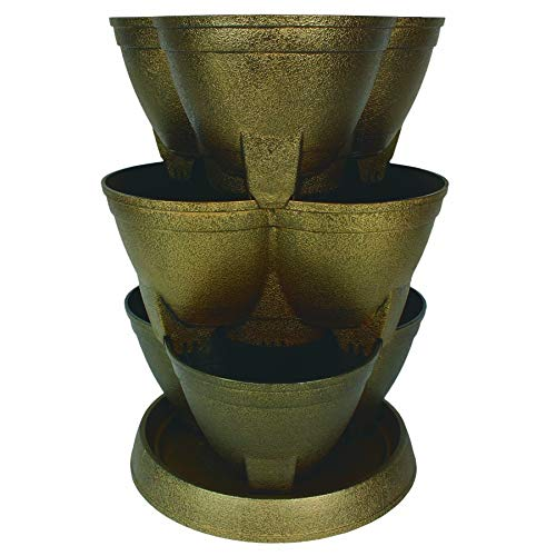 Stack-A-Pot Planter - The HC Companies | 15' Decorative Flower Pot Planters for Houseplants | Celtic Bronze (RZ.JSRA0Y49)