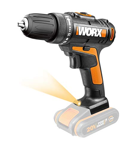 WORX WX101.9 Cordless Drill 20 V - Powerful Cordless Screwdriver for Drilling and Screwing - Without Battery and Charger