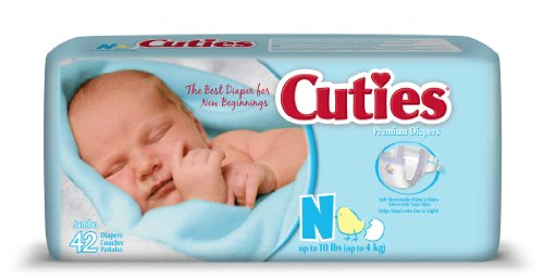 Cuties Jumbo Pack Diaper, Newborn, 168 Count
