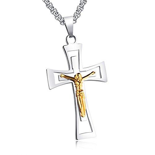 Heren roestvrijstalen gotische kruis Jezus hanger nieuwe mode sieraden 55 cm ketting ketting zilver goud