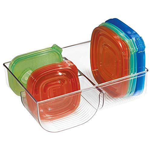 mDesign Food Storage Container Lid Holder, 3-Compartment Plastic Organizer Bin for Organization in Kitchen Cabinets, Cupboards, Pantry Shelves - Clear