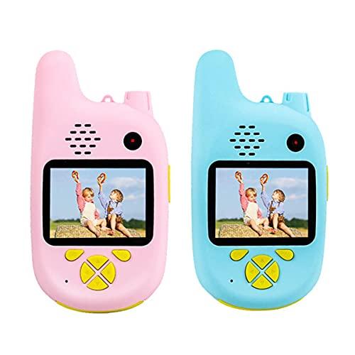 HIZQ Walkie-Talkie para Niños con Cámara De Video, Radio Bidireccional Alcance De 3 Km Cordón Ideal para Acampar En El Parque Compras Aventuras El Juego Regalo,Pink+Blue