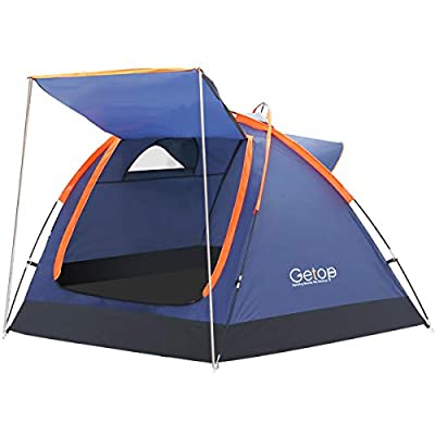Getop 3-4 Person Family Camping Tent Backpacking Waterproof Durable Outdoor Family Two Doors Skylight for Beach Hunting Hiking Travel