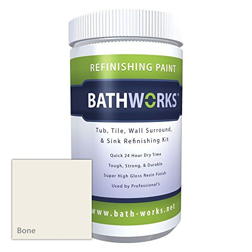Bathworks DIY Bathtub & Tile Refinishing Kit w/Non-Slip Protection (BONE); 22 oz; Tub; Tile; Wall Surround; Sink; Quick 24 hour dry time; High Gloss Resin Finish