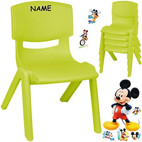 alles-meine.de GmbH Kinderstuhl / Stuhl - Motivwahl - grün - apfelgrün + Sticker - Disney Mickey Mouse - inkl. Name - Plastik - bis 100 kg belastbar / kippsicher - für INNEN & AU..