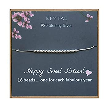 EFYTAL 16th Birthday Gifts for Girls 925 Sterling Silver Sweet 16 Bracelet for 16 Year Old Girl Jewelry Gift Idea