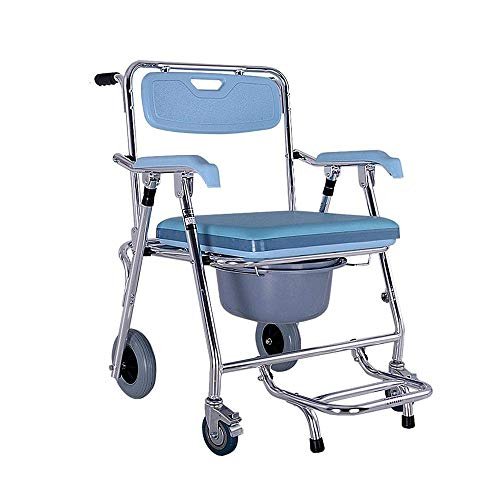 N/Z Daily Equipment Toilet Seat with Wheels Toilet Seat Folding Toilet Seat with Toilet and Footrest Transport Wheelchair and Shower Chair
