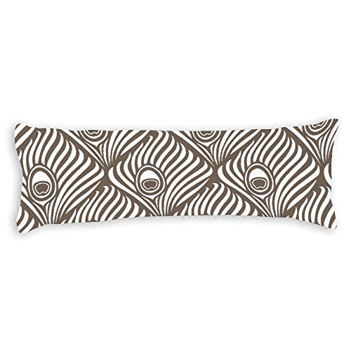 Peacock Feather Pattern In Taupe and White Ultra Soft Microfiber Long Body Pillow Cover Pillowcases with Hidden Zipper Closure for Kids Adults Pregnant Women, 20' x 54'