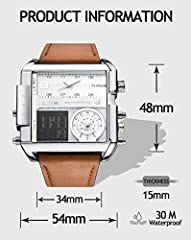JSDDE Men's Brown Square Digital Electronic Genuine Leather Band 3ATM Waterproof LCD Sport Watch Casual Business Quartz Military Multifunction Back Light #4