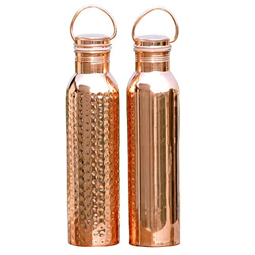 HealthGoodsIn- Set of Plain and Hammered Copper Water Bottle with Handle | Seamless Leak-Proof Water Bottle Set 600 Ml (20.28 Fluid Ounce)