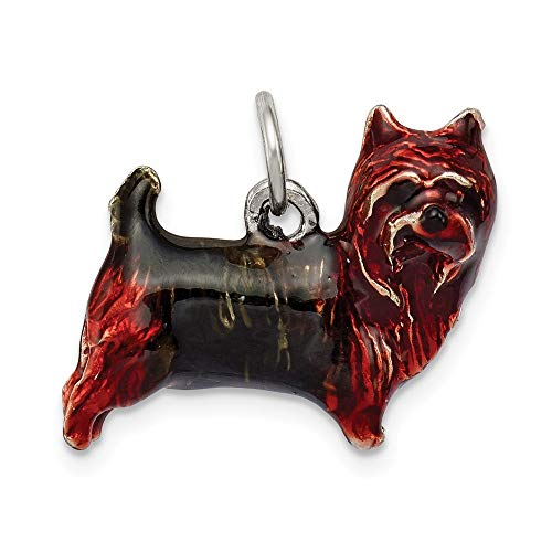 Broche de plata de ley Tamaño pequeño diseño de perro Yorkshire para pulsera esmaltado perfil -...