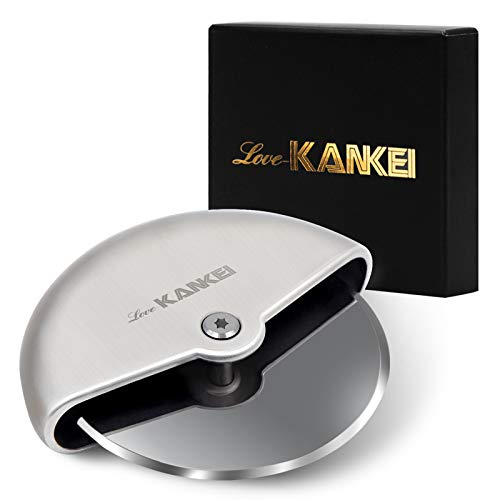 Love-KANKEI Pizza Cutter, Pizza Slicer Stainless Steel Comfortable Palm Grip 4 inch (10 cm)