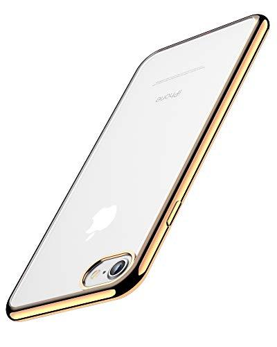 Funda iPhone 6, Funda iPhone 6S, Joyguard Funda para iPhone 6/6S Transparente Cristal Silicona Suave Delgado Flexible TPU con Parachoques de Efecto Metálico Carcasa iPhone 6/6S - 4.7 Pulgadas - Oro