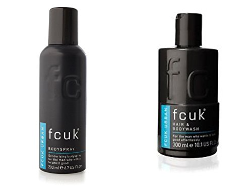 FCUK URBAN Style High Performance Hair & Body Wash 300mL & Body Spray 200 mL Combo Pack