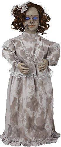 Fancy Me 81cm Bewegung Sensible Leuchtend & Geräusche Grau Viktorianisch Horror Unheimlich Besessen Puppe Halloween Party Dekoration Zubehör Requisit