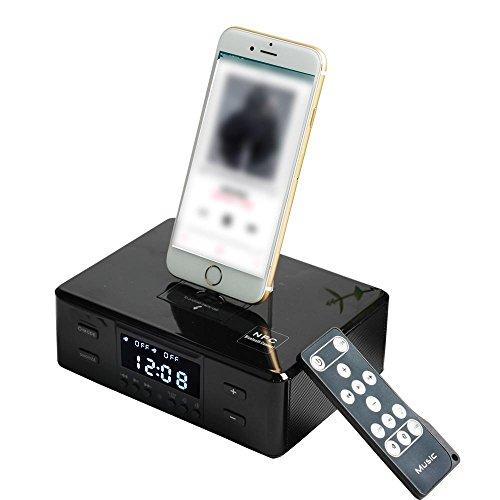 Docking Station Radio FM Altavoz Bluetooth inalámbrico Estación de Acoplamiento con Despertador doble control remoto Base de carga giratoria tres en uno Para cualquier iPhone Android iPad,Negro